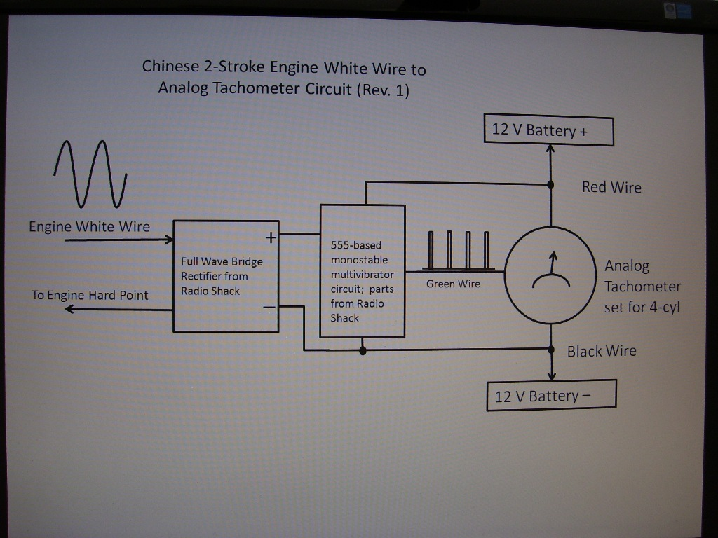 Analog Tachometer In Testing Motorized Bicycle Engine Kit Forum 4 Wire Tach Wiring 100 1635