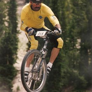 Still in the air at 40mph....Kamikaze Downhill at Mammoth Mountain, CA. 1992