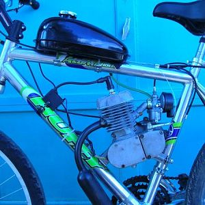 #1 has a disc brake fount end from a Donner Schwinn with suspension.