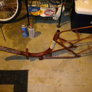 Sanded and stripped frame.