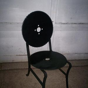 Saw Blade chair that I suggest everyone sit in before they die!