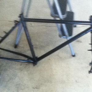 my new frame i just painted and will put the motor on once i fix the clutch shaft