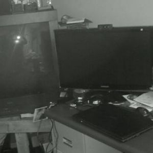 "My 3 monitors: From left to right: 43"" Gateway 2000, 27"" Samsung HD Widescreen, 19"" LCD Flatpanel. Acer i7  17.3"" lappy"