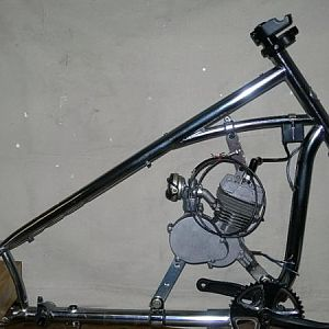 The first step in this build was to strip the bicycle components from the frame. The engine configuration was determined and the mounts were fabricate