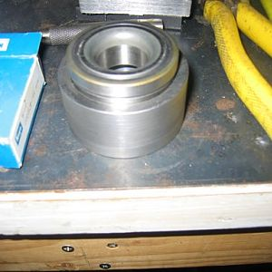 "Steering head bearing carrier finished with tapered 1"" id roller bearing ready to be brazed onto steering head tube"
