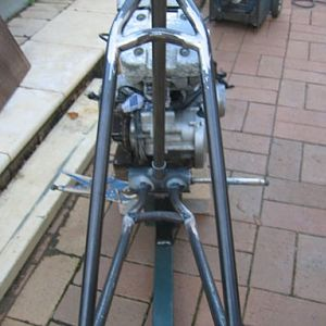 Rear view of frame triangle set up