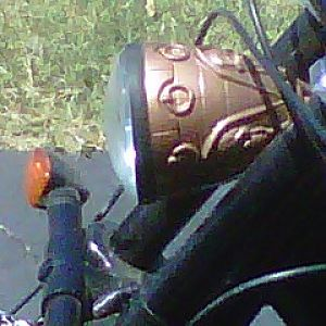 Headlight made from a plastic gothic goblet