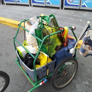 Loaded with groceries.