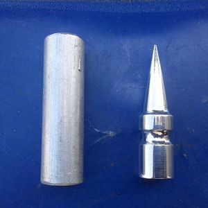Before and after. On the left is the aluminum blank. On the right is a completed spike.....