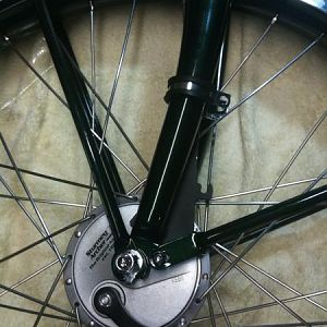 Front wheel relaced with a Archer Sturmy internal brake.