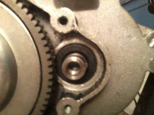 clutch side of motor with gear removed key in place